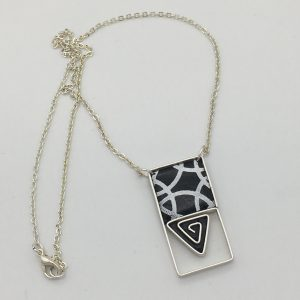Black and White Triangle Swirl Necklace