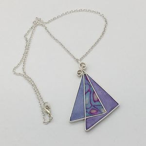 Blue and Purple Triangle Necklace