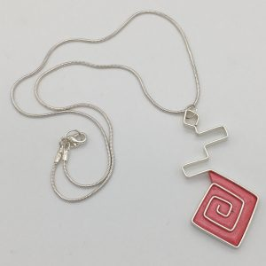 Coral Pink Aztec Swirl Necklace