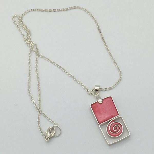 Coral Pink Square Swirl Necklace