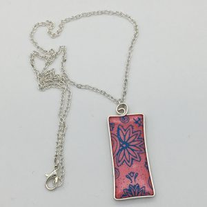 Coral Pink and Blue Floral Design Necklace