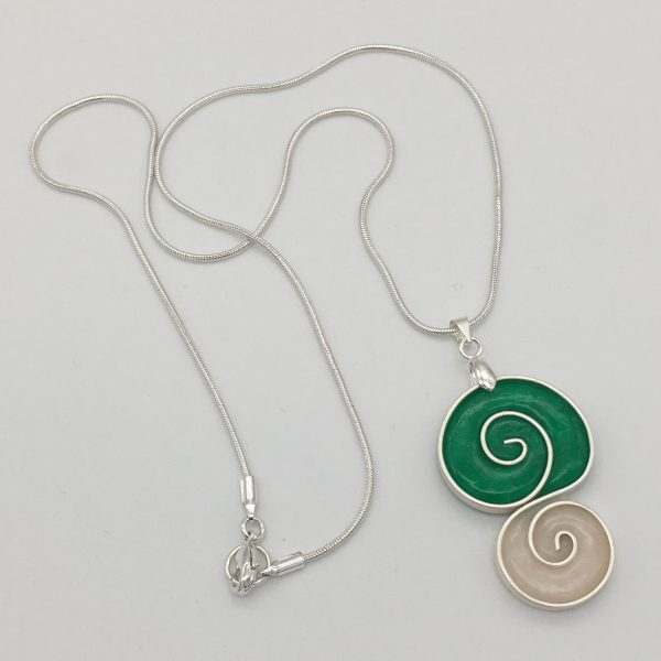 Green and White Swirls Necklace