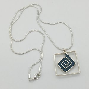 Petrol Blue Square Swirl Necklace