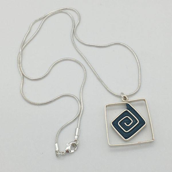 Petrol Blue Square Swirl Necklace