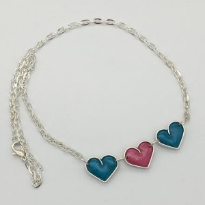 Turquoise and Pink Triple Heart Necklace