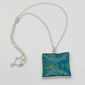 Turquoise and Yellow Floral Design Necklace