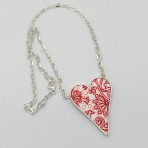 White and Red Floral Design Heart Necklace