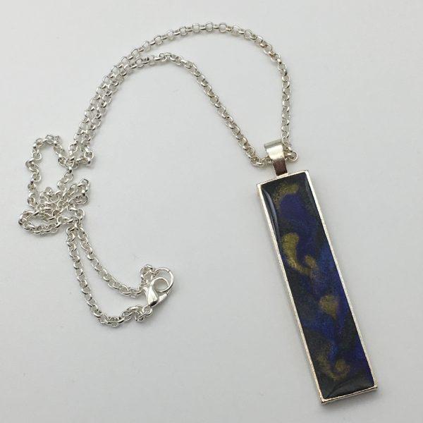 Large Shimmering Black Rectangle Necklace