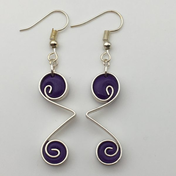 Purple Double Swirl Earrings