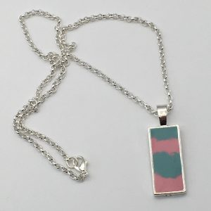 Small Pink and Green Rectangle Necklace