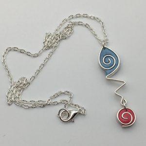 Blue Teardrop Swirl Necklace