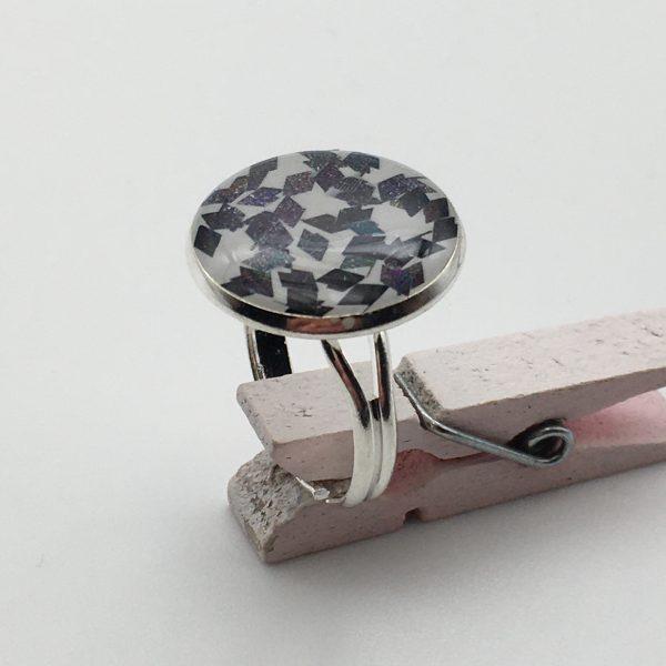 Medium Black Glitter Ring