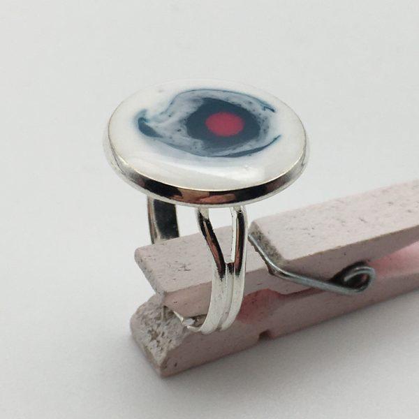 Medium White Splatter Ring