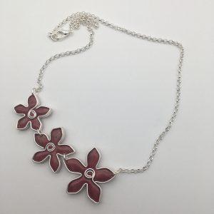 Triple Pink Flower Necklace