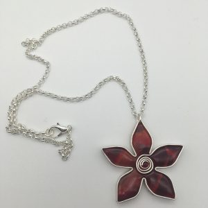 Deep Red Flower Necklace