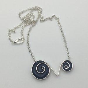 Navy Blue Swirl Necklace