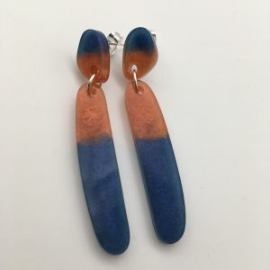 Blue and Orange Long Drop Earrings