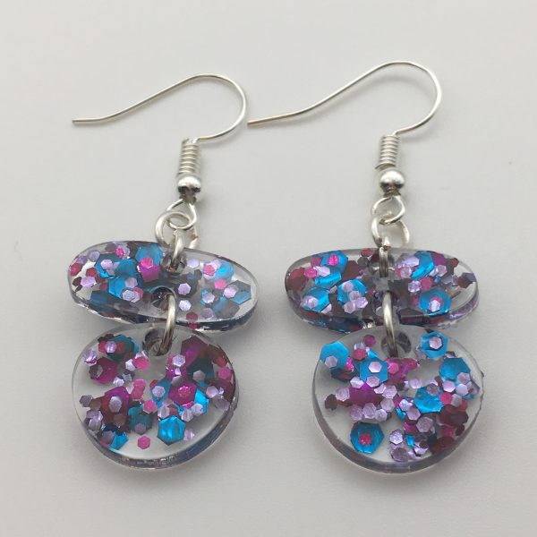 Clear Glitter Oval Circle Earrings