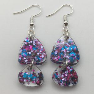 Clear Glitter Triangle Earrings