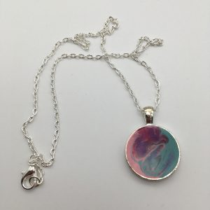 Pink and Green Swirled Circle Necklace