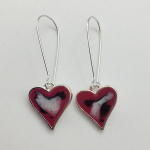 Small Abstract Pink Heart Earrings