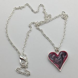 Small Swirled Pink Heart Necklace