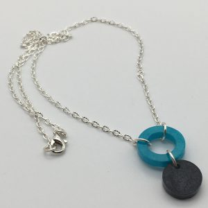 Aquamarine and Black Cascasding Shapes Necklace