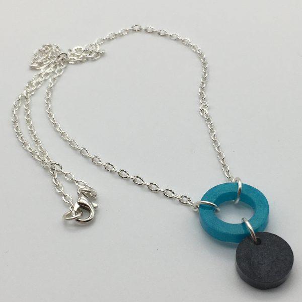 Aquamarine and Black Cascasding Shapes Necklace