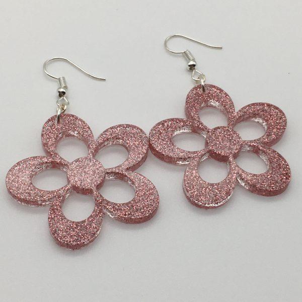 Large Pink Glitter Flower Earrings