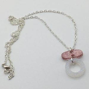 Pink and White Cascasding Shapes Necklace