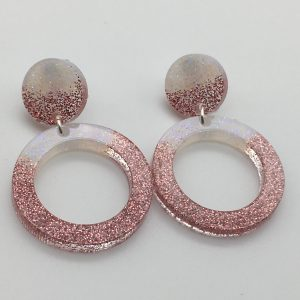 Pink and White Circle Drop Earrings