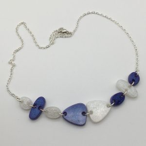 Purple and White Cascading Shapes Necklace