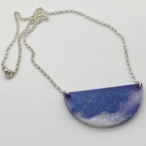 Purple and White Semicircle Necklace