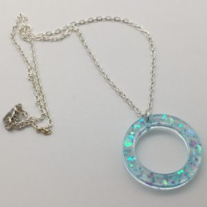 Blue Glitter Circle Necklace