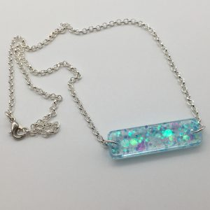 Blue Glitter Rectangle Necklace