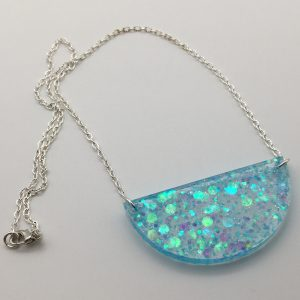 Blue Glitter Semicircle Necklace