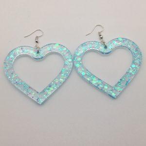 Large Blue Glitter Heart Earrings