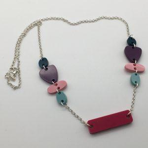 Multicoloured Cascading Shapes Necklace