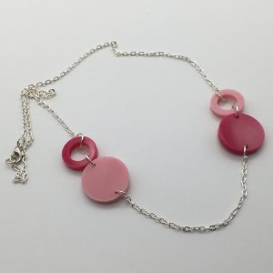 Pink Cascading Circles Necklace