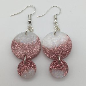Pink and White Disc Drop Earrings