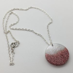Pink and White Disc Necklace