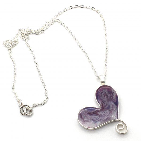 Purple Swirl Heart Necklace