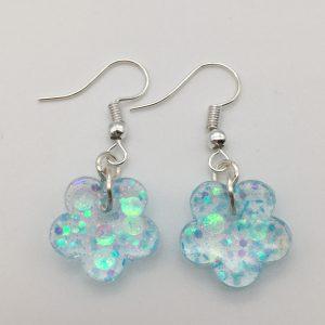 Tiny Blue Glitter Flower Earrings