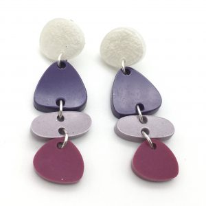 White to Pink Cascading Shapes Earrings