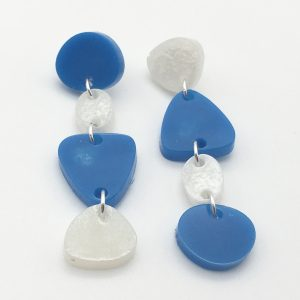 Blue and White Cascading Shapes Earrings