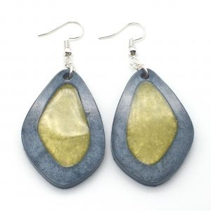 Grey Filled Oval Earrings