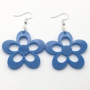 Large Blue Flower Earrings
