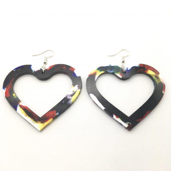 Large Multicoloured Heart Earrings