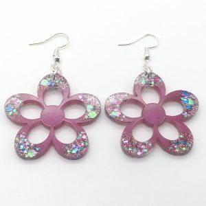Large Pink Sparkle Flower Earrings