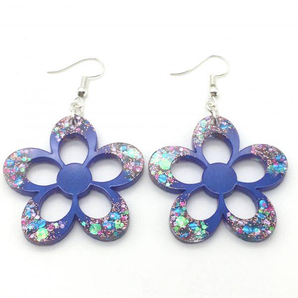 Large Purple Sparkle Flower Earrings